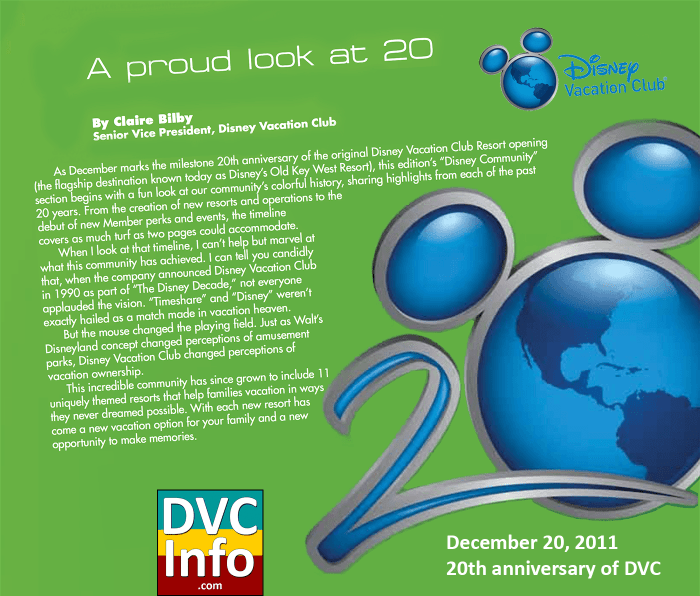20th anniversary of DVC in 2011