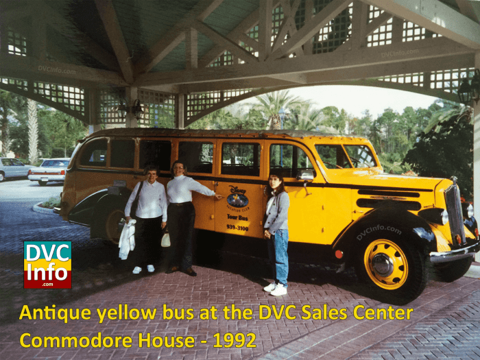 Antique yellow bus under the portico at the Commodore House 1992