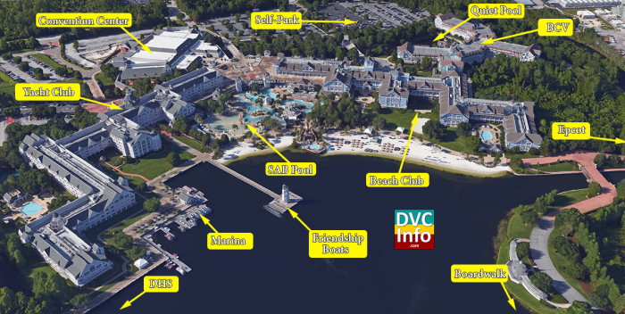 Disney's Beach Club Villas Satellite View