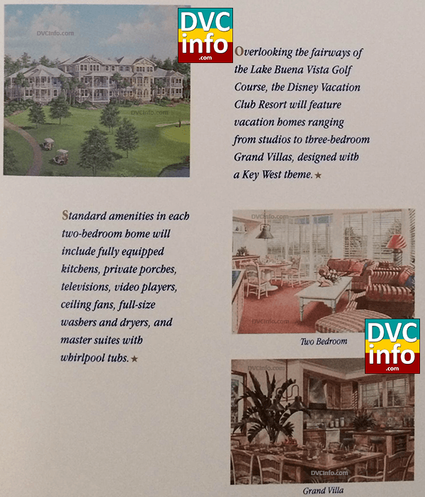 Standard DVC room amenities shown in 1991 brochure