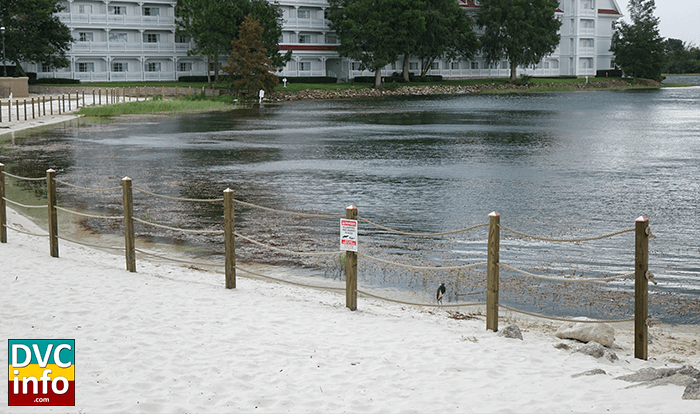 Temporary Fence and Signs along the shoreline