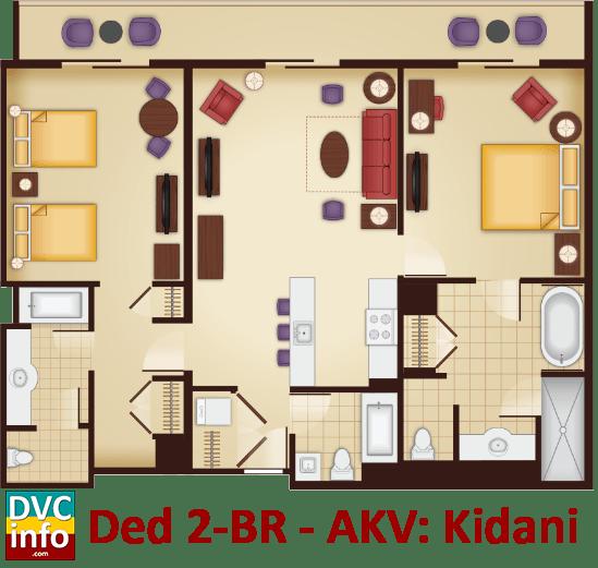 Kidani Village 2 Bedroom Villa on Animal Kingdom Villas Floor Plan
