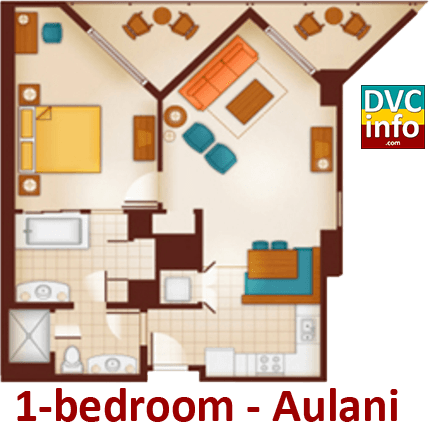 1-bedroom floor plan - Aulani
