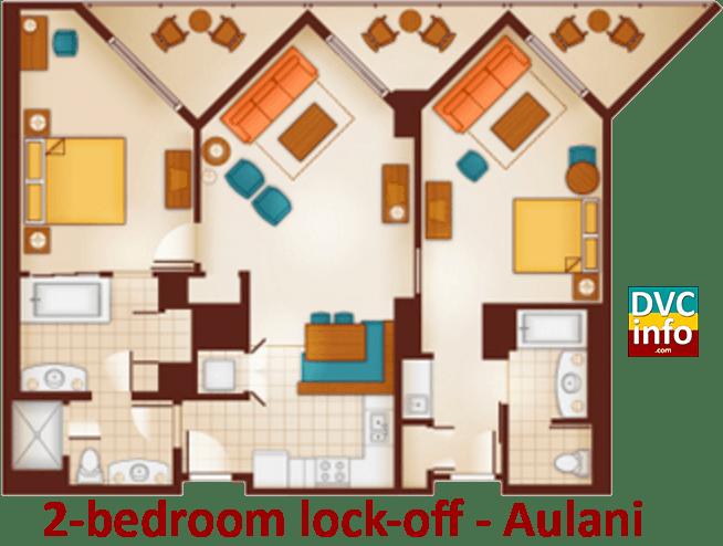 2-bedroom lock-off floor plan - Aulani