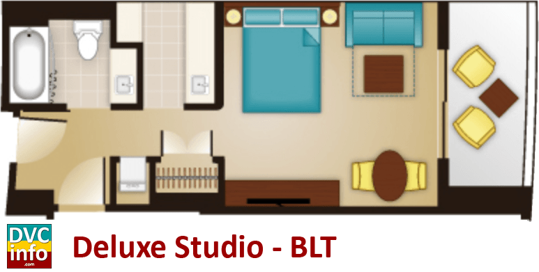 Studio floor plan - Bay Lake Tower