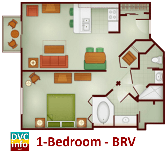 1-bedroom floor plan - Boulder Ridge Villas