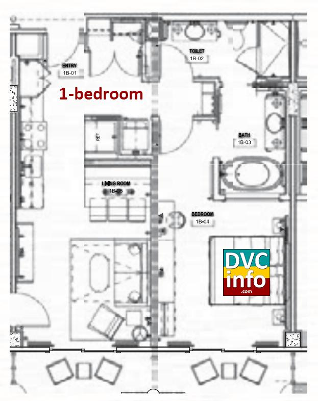Copper Creek Villas - 1-bedroom floor plan