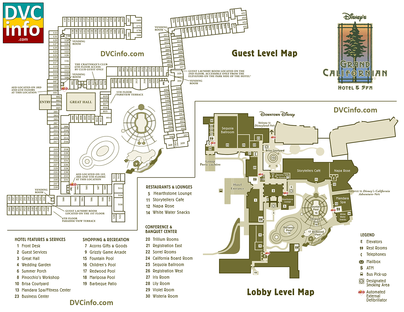 Grand Californian Hotel Room Map