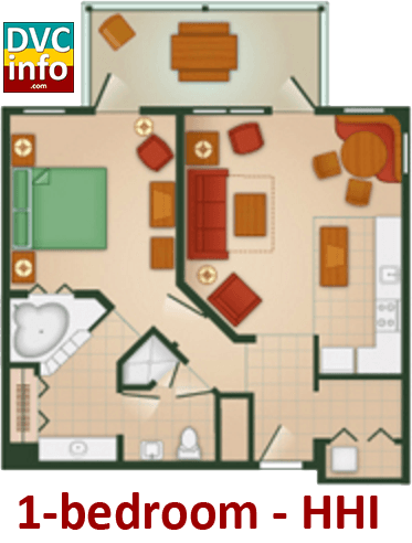 1-bedroom floor plan - Hilton Head Island