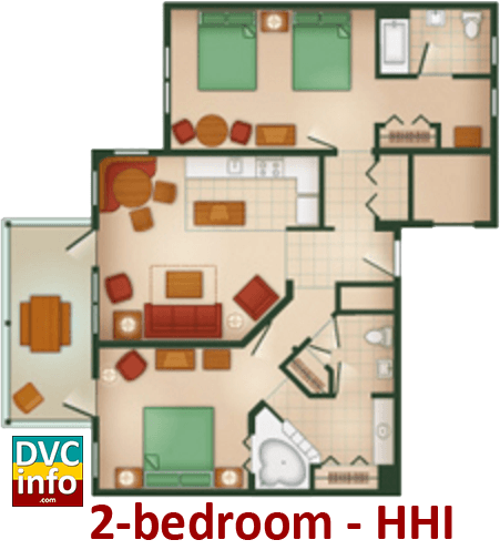 2-bedroom floor plan - Hilton Head Island