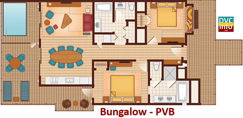 Bungalow floor plan - Polynesian Villas & Bungalows