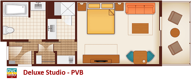 Studio floor plan - Polynesian Villas & Bungalows