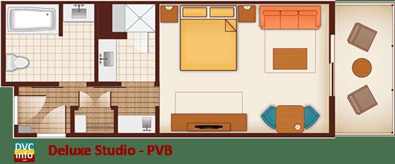 Studio floor plan - Polynesian Villas & Bungalows