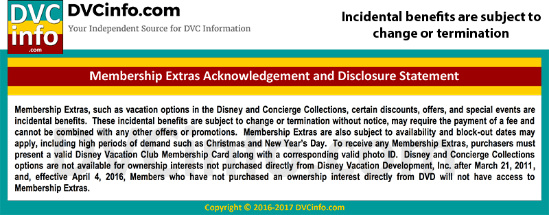 DVC Perks are subject to change or termination