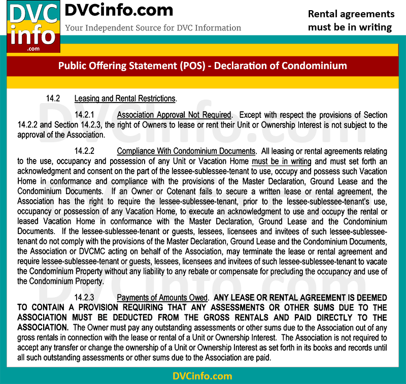 Written DVC Rental Agreements are required