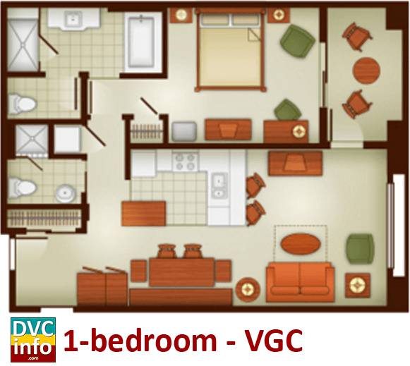 1-bedroom floor plan - Villas at the Grand Californian