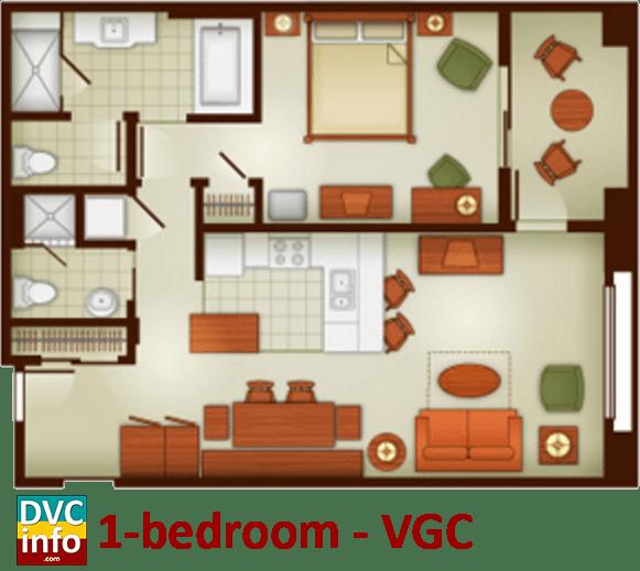 1-bedroom floor plan - Villas at the Grand Californian