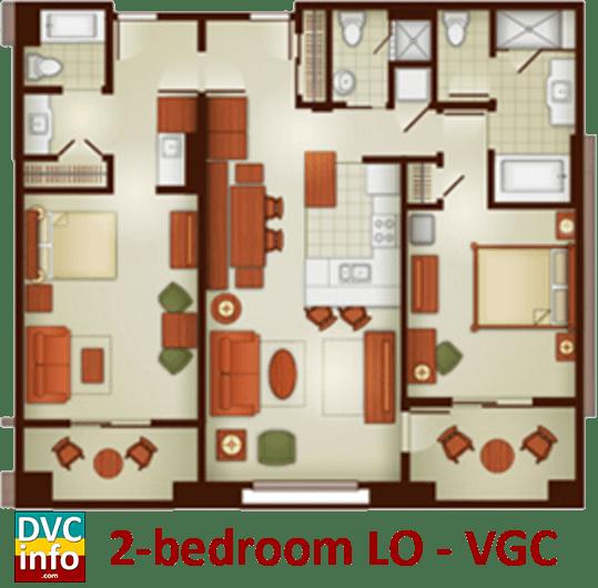 2-bedroom lock-off floor plan - Villas at the Grand Californian