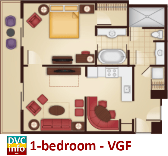 1-bedroom floor plan - Villas at the Grand Floridian