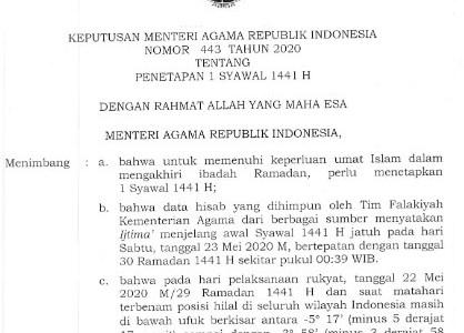 Download Keputusan Menag tentang Penetapan 1 Syawal 1441 H