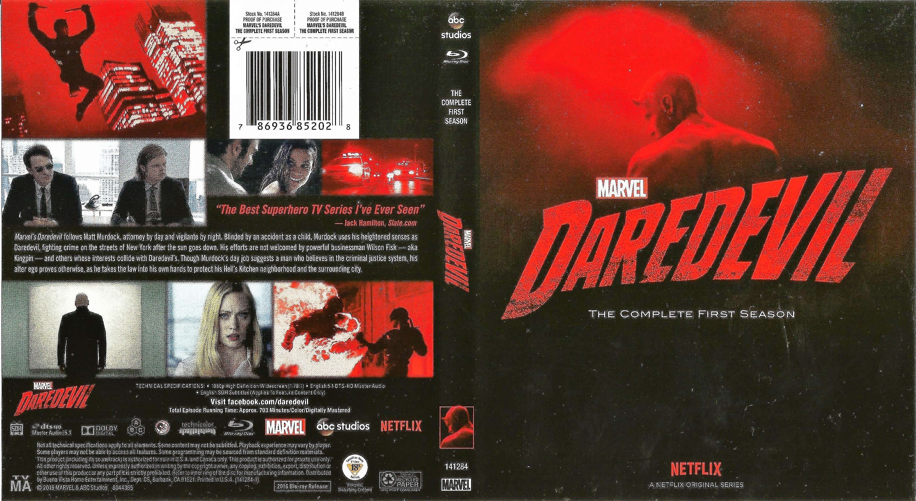 Marvels Daredevil The Complete First Season Blu Ray Cover