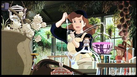 Kiki's mother pours a potion into a beaker. She is surrounded by plants, test tubes, and large windows looking out on a green landscape.