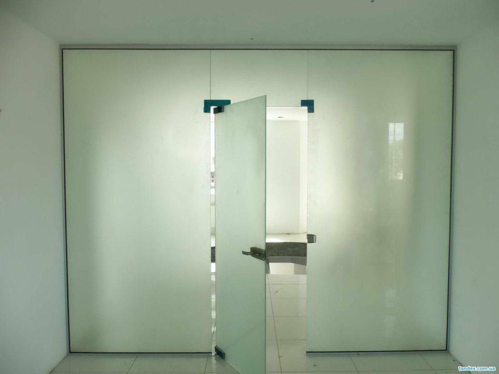 цельностеклянная матовая дверь