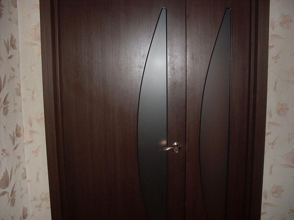 шпонированная остекленная двустворчатая дверь