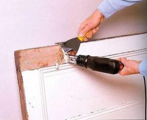 снимаем краску с двери