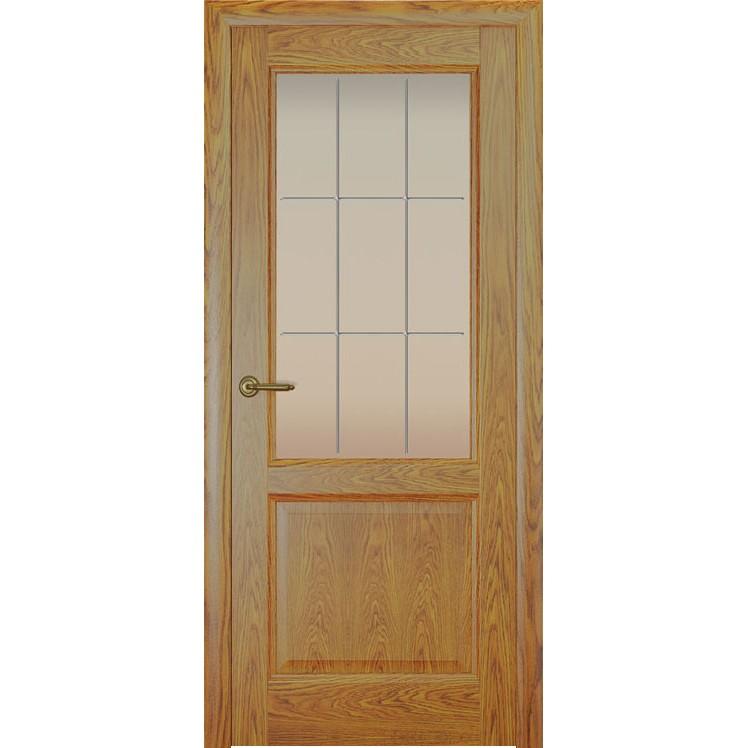 Дверь с натуральным шпоном «Парма Решетка белая» (со стеклом)