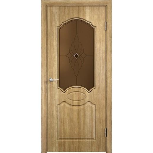 Межкомнатная дверь скин экошпон «Афина ДО Ромб темный» (со стеклом)