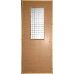 Строительная оргалитовая дверь (со стеклом)
