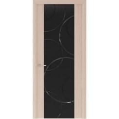 Межкомнатная шпонированная дверь «Capri-1 Черное» (со стеклом)