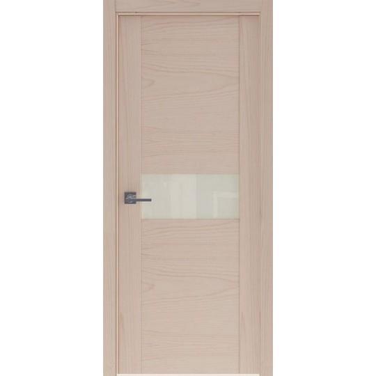 Межкомнатная шпонированная дверь «Rona-3 Белая» (со стеклом)