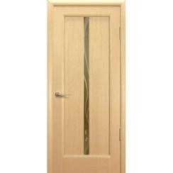 Межкомнатная шпонированная дверь «Новая волна (L) Бронза» (со стеклом)