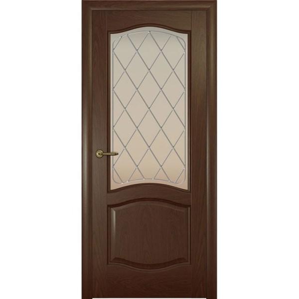 Дверь с натуральным шпоном «София Ромб белый» (со стеклом)