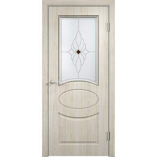 Межкомнатная дверь скин экошпон «Гера ДО Ромб светлый» (со стеклом)