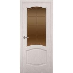 Дверь с натуральным шпоном «София Решетка бронза» (со стеклом)