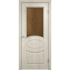Межкомнатная дверь скин экошпон «Гера ДО Ромб темный» (со стеклом)