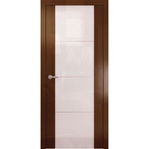 Межкомнатная глянцевая дверь «Avorio-2 Белое» (со стеклом)