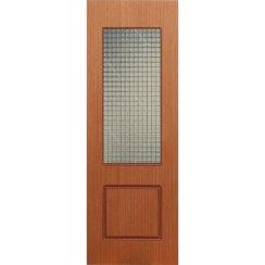 Строительная шпонированная дверь «Марсель» (светлый орех, со стеклом)