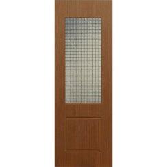 Строительная шпонированная дверь «Марсель» (темный дуб, со стеклом)