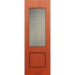 Строительная шпонированная дверь «Марсель» (вишня, со стеклом)