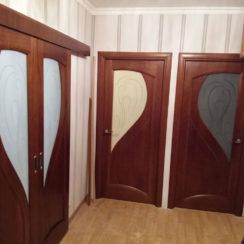 Шпонированные двери со стеклом в квартире