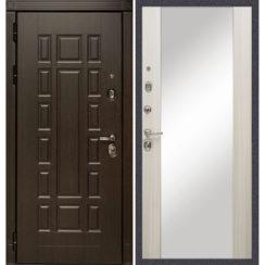 Входная металлическая дверь «МД-38» с зеркалом (сандал белый)