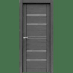 """Межкомнатная дверь экошпон """"Велюкс 01 Ясень грей"""" (стекло Сатинато графит)"""