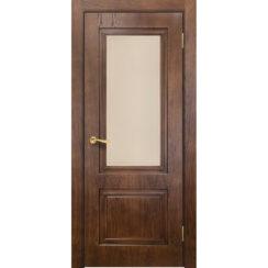 Межкомнатная дверь «Сити 5 орех» натуральный шпон (со стеклом)
