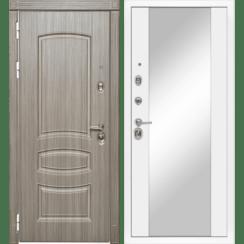 Входная металлическая дверь «МД-42» с зеркалом (белый софт)