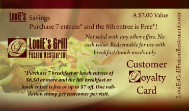 louies grill Loyalty Card back