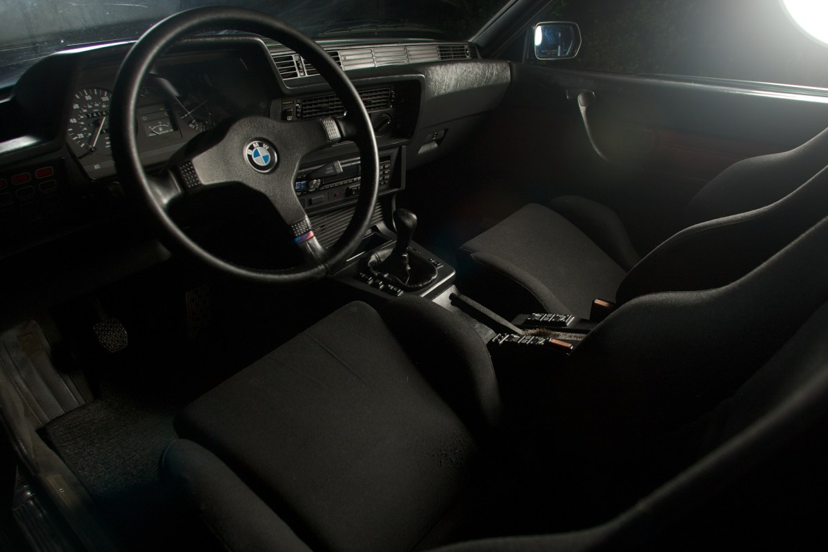 Beauty shot of the interior of a 1987 BMW 635CSi